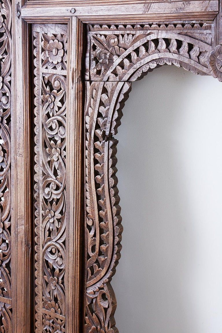 19th Century Indian Carved Wood Panel Window Surround For Sale 8