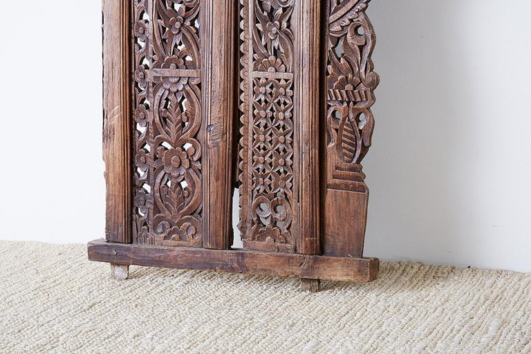 19th Century Indian Carved Wood Panel Window Surround For Sale 9