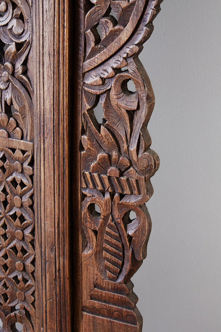 19th Century Indian Carved Wood Panel Window Surround For Sale 11