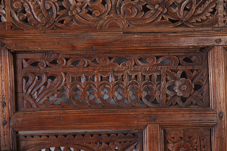 19th Century Indian Carved Wood Panel Window Surround For Sale 12
