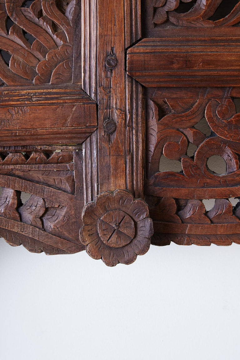 19th Century Indian Carved Wood Panel Window Surround For Sale 13