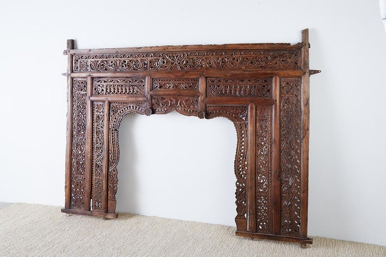 19th Century Indian Carved Wood Panel Window Surround For Sale 14