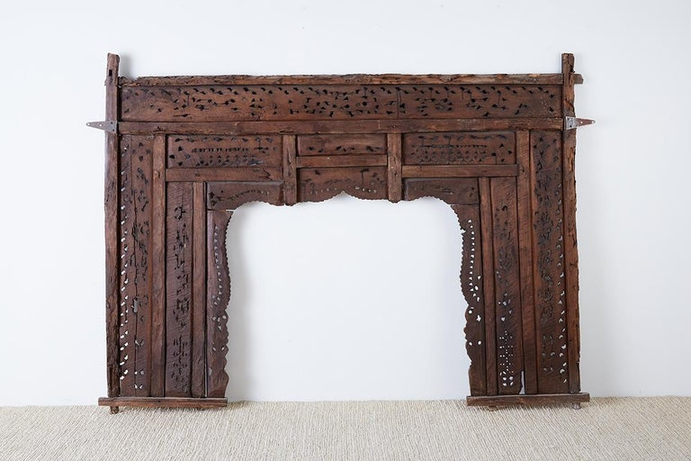 19th Century Indian Carved Wood Panel Window Surround For Sale 15