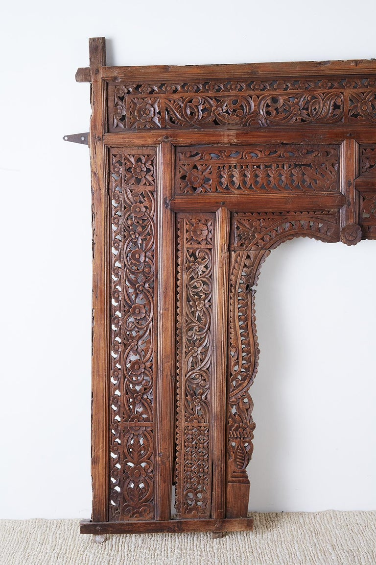 Anglo Raj 19th Century Indian Carved Wood Panel Window Surround For Sale