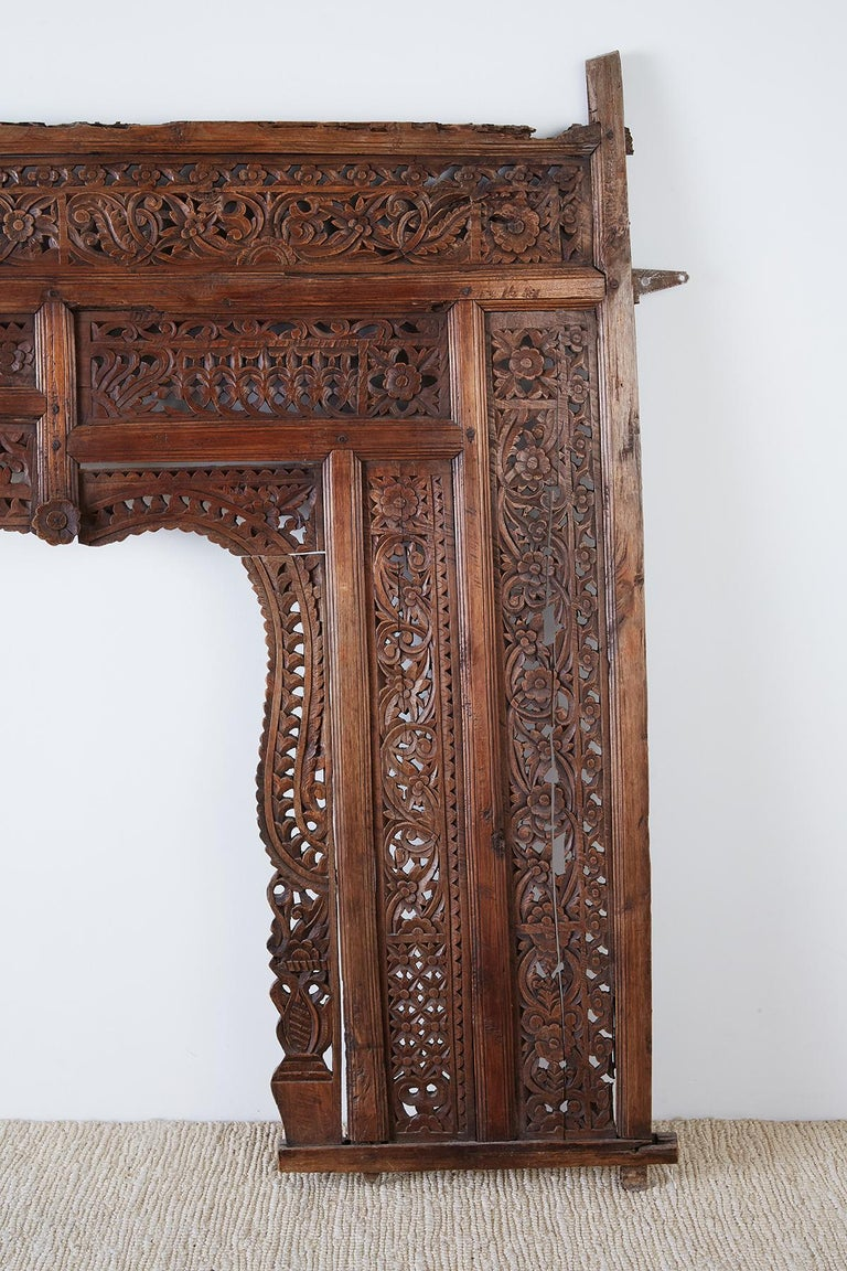 19th Century Indian Carved Wood Panel Window Surround In Distressed Condition For Sale In Oakland, CA
