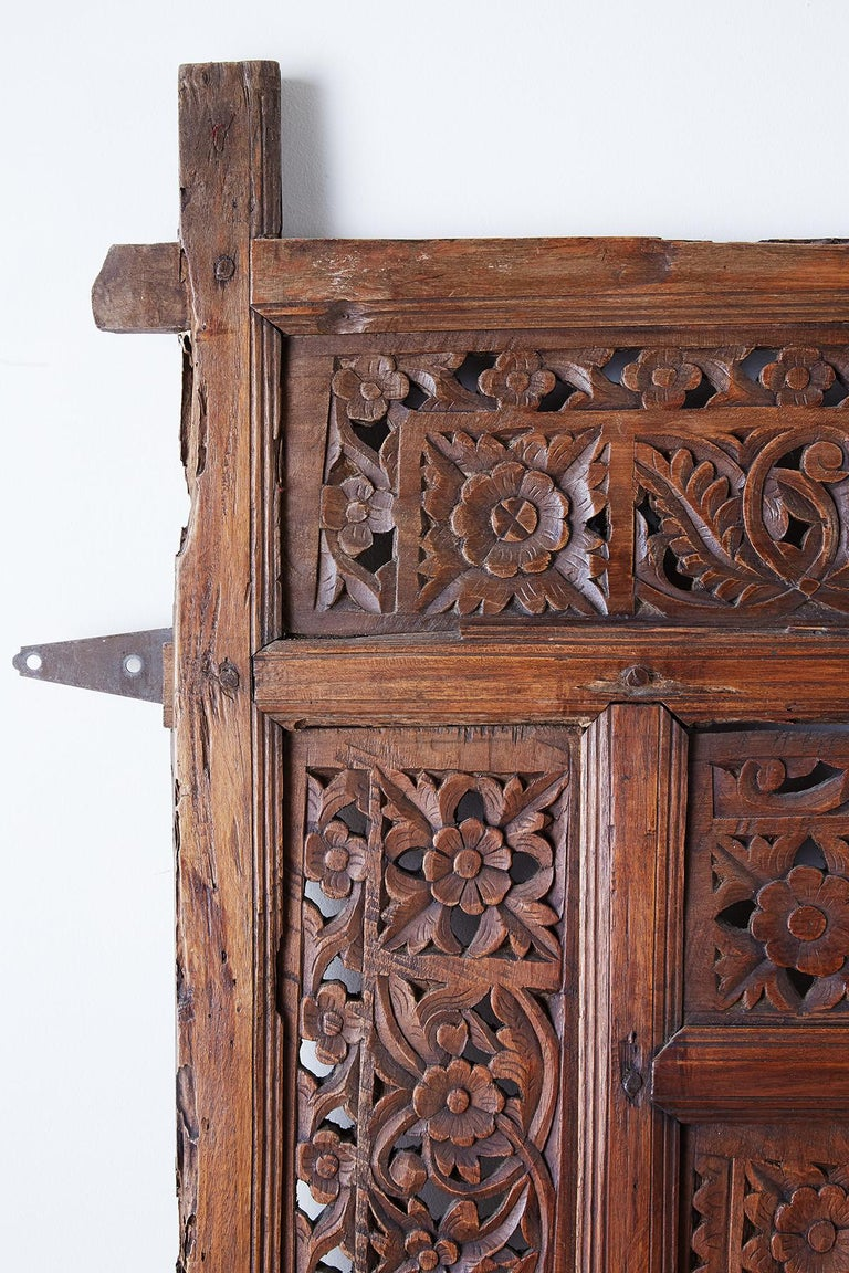 19th Century Indian Carved Wood Panel Window Surround For Sale 2