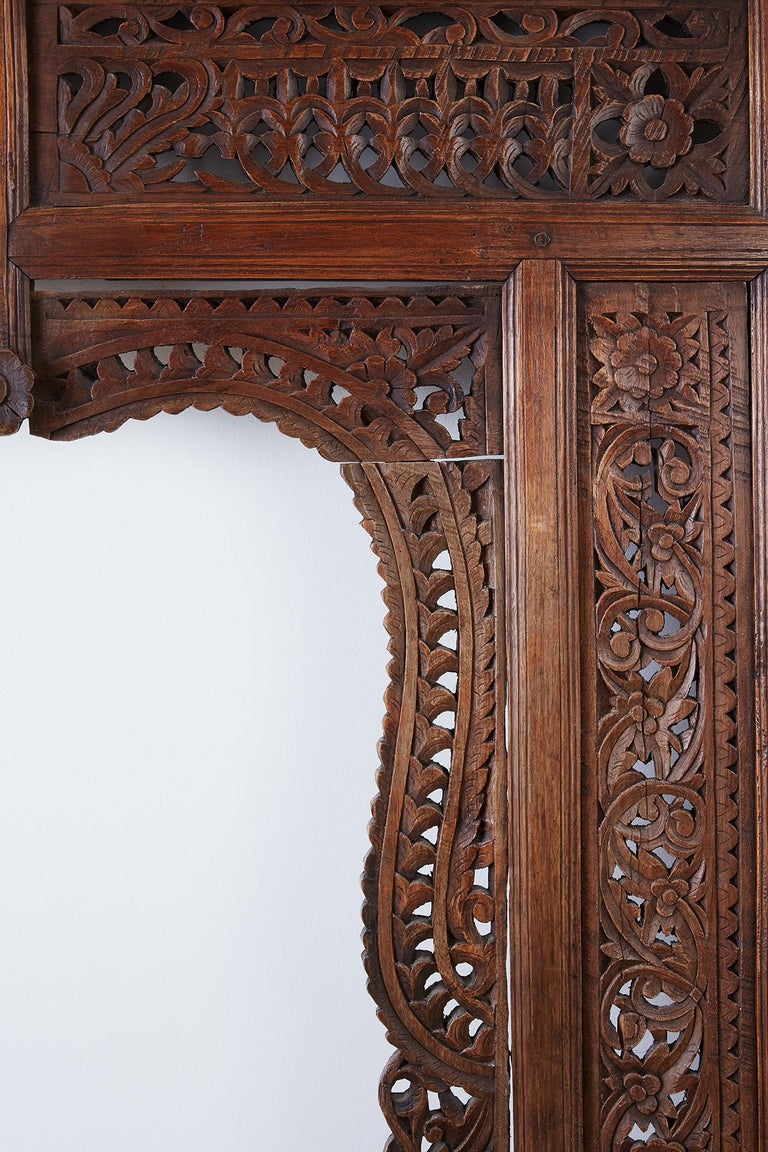 19th Century Indian Carved Wood Panel Window Surround For Sale 3