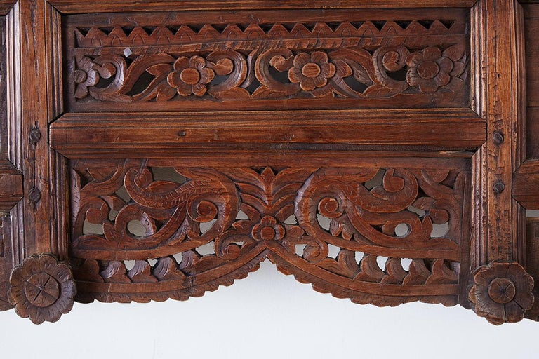 19th Century Indian Carved Wood Panel Window Surround For Sale 4