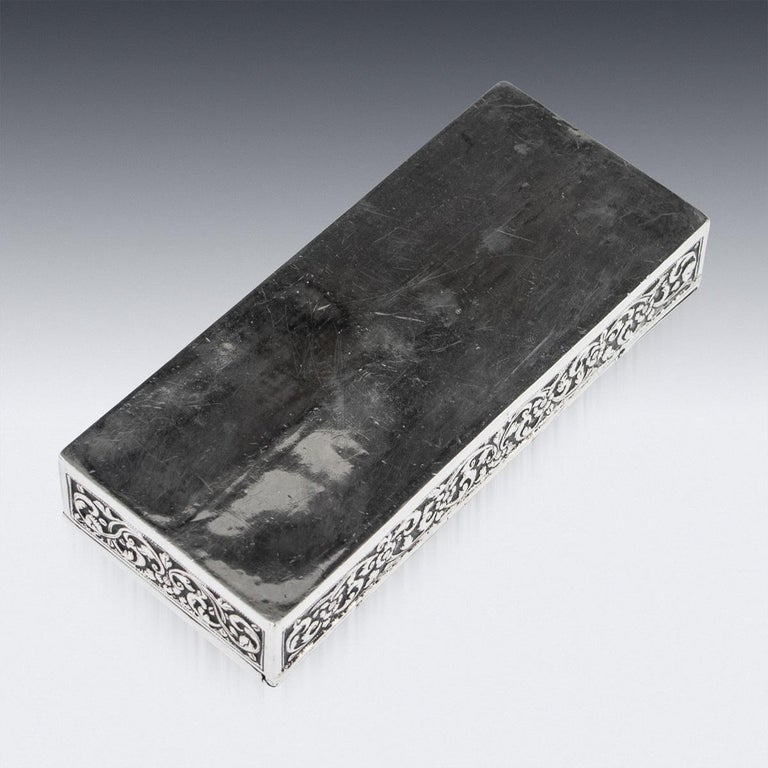 19th Century Indian Colonial Cutch Solid Silver Stamp Box, circa 1890 For Sale 7