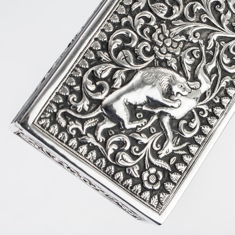 19th Century Indian Colonial Cutch Solid Silver Stamp Box, circa 1890 For Sale 8