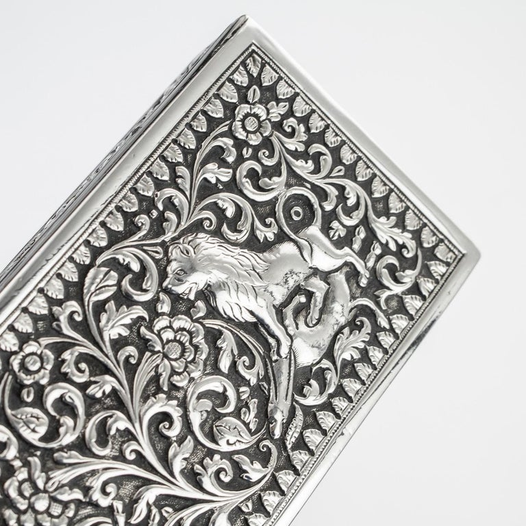 19th Century Indian Colonial Cutch Solid Silver Stamp Box, circa 1890 For Sale 10