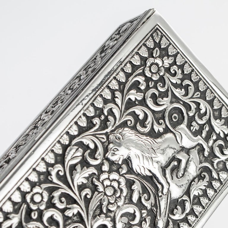 19th Century Indian Colonial Cutch Solid Silver Stamp Box, circa 1890 For Sale 11