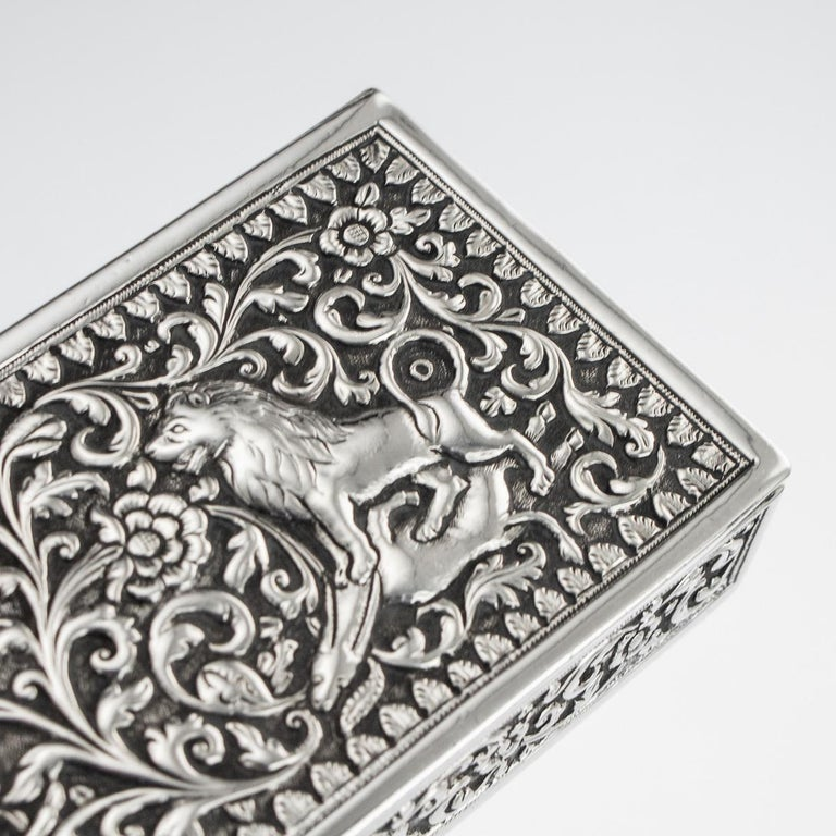 19th Century Indian Colonial Cutch Solid Silver Stamp Box, circa 1890 For Sale 13