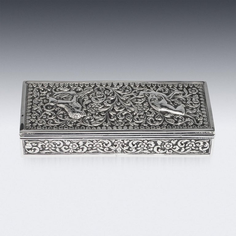 19th Century Indian Colonial Cutch Solid Silver Stamp Box, circa 1890 For Sale 3