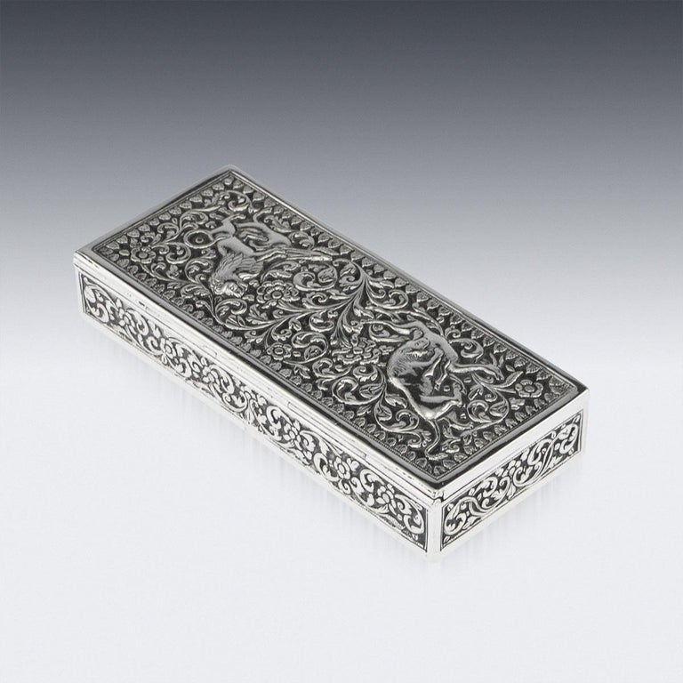 19th Century Indian Colonial Cutch Solid Silver Stamp Box, circa 1890 For Sale 4
