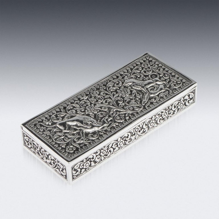 19th Century Indian Colonial Cutch Solid Silver Stamp Box, circa 1890 For Sale 5