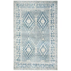 19th Century Indian Cotton Agra Blue and White Handmade Rug