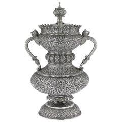 19th Century Indian Cutch Silver Cup & Cover By Mawji Raghavji, Bhuj, circa 1880
