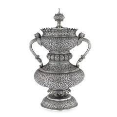 19th Century Indian Cutch Silver Cup & Cover By Mawji Raghavji, Bhuj Circa 1880