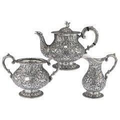 19th Century Indian Cutch Solid Silver 3-Piece Hunting Tea Set, circa 1890