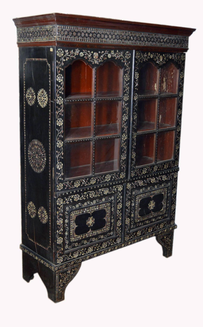 19th Century Indian Ebonized Wood Cabinet With Mother Of