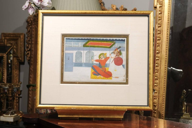 A very fine Gouache painting, circa 1838 It is meticulously painted on paper with bold vivid colors. The painting, which is  11 1/2 in. W x 8 in. H, and silk mat is enclosed in a giltwood frame which was added about 30 years ago.