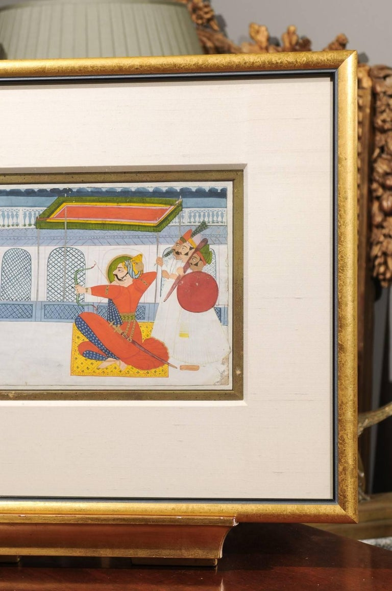Giltwood 19th Century Indian Gouache Painting For Sale
