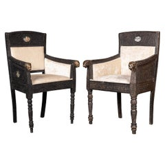 19th Century Indian Mogul Style Pair of Carved Wood Throne Chairs c.1880