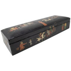 19th Century Indian Mughal Lacquered Box with People and Horses Painted Scenes
