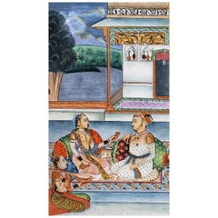 19th Century Indian Mughal Painting of a Marriage Ceremony