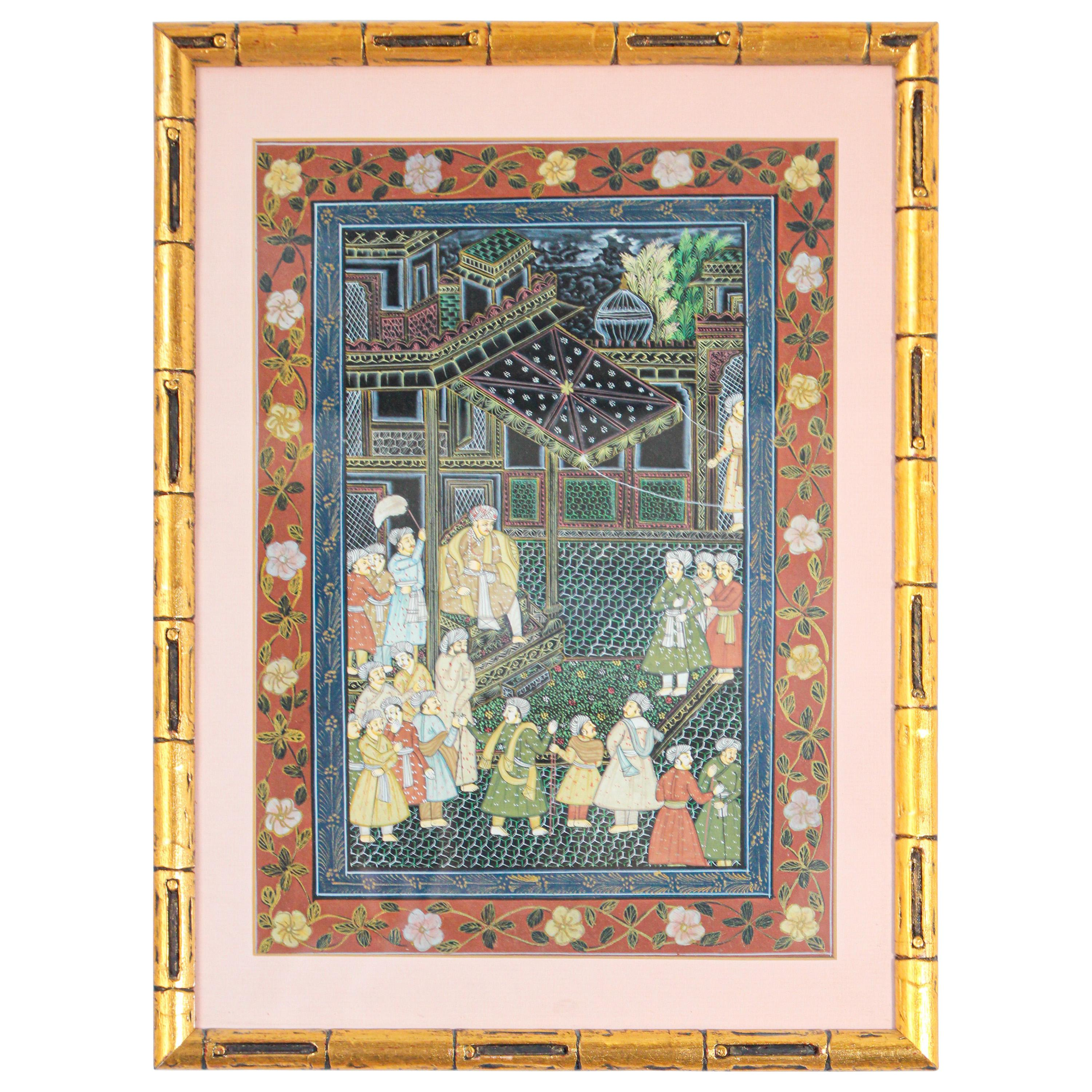 19th Century Indian Mughal Scene Miniature Painting