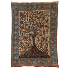 19th Century Indian Palampore Tree of Life Wall Hanging Textile
