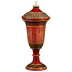 19th Century Indian Papier Maché Pot with Lid