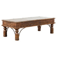 19th Century Indian Rustic Coffee Table with Carved Apron and Iron Accents