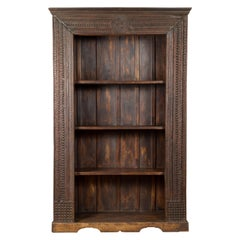 19th Century Indian Wooden Bookcase from Gujarat with Carved Friezes and Rosette