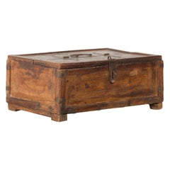 19th Century Indian Wooden Box with Incised Motifs and Distressed Patina