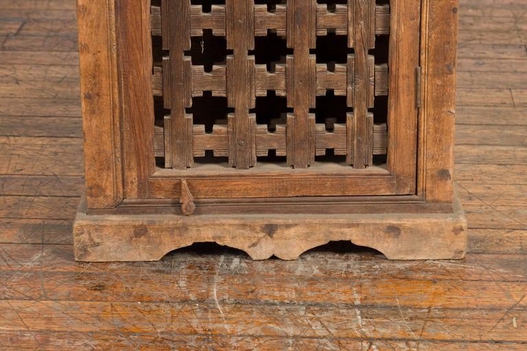19th Century Indian Wooden Cabinet with Single Fretwork Door and Brass Handle For Sale 1