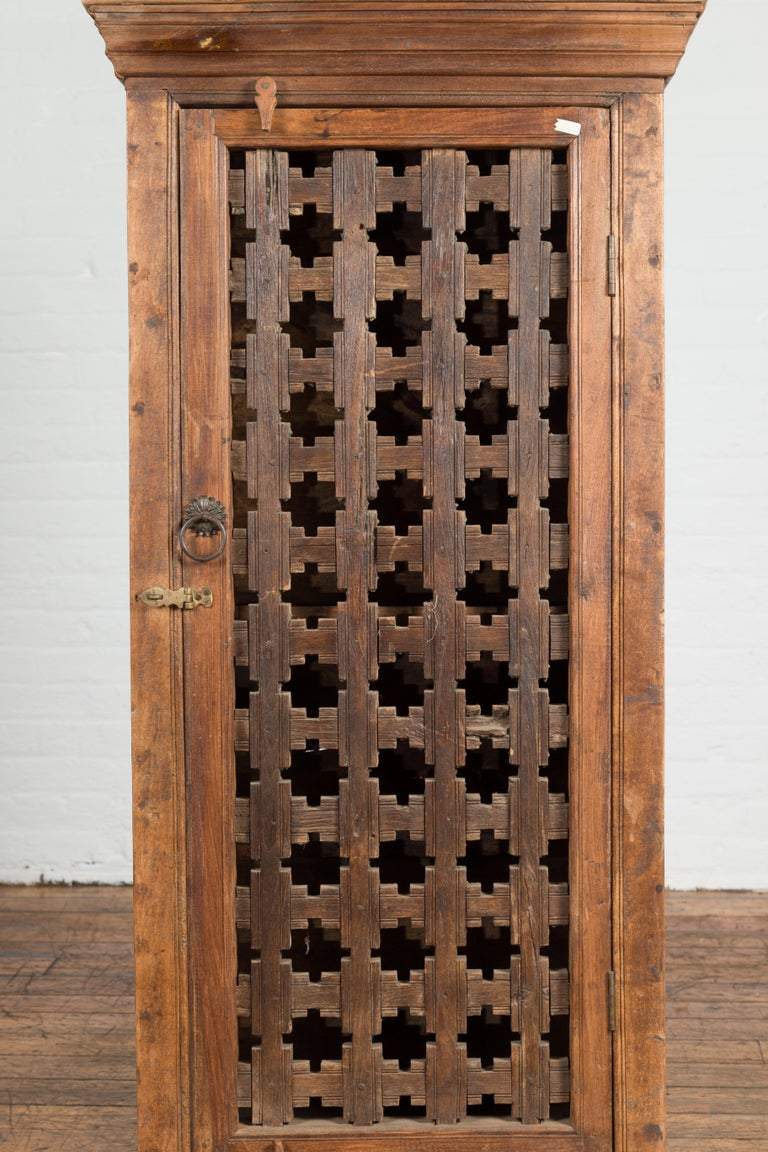 19th Century Indian Wooden Cabinet with Single Fretwork Door and Brass Handle For Sale 2