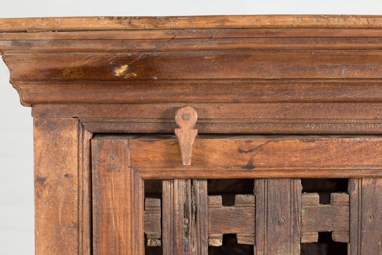 19th Century Indian Wooden Cabinet with Single Fretwork Door and Brass Handle For Sale 3