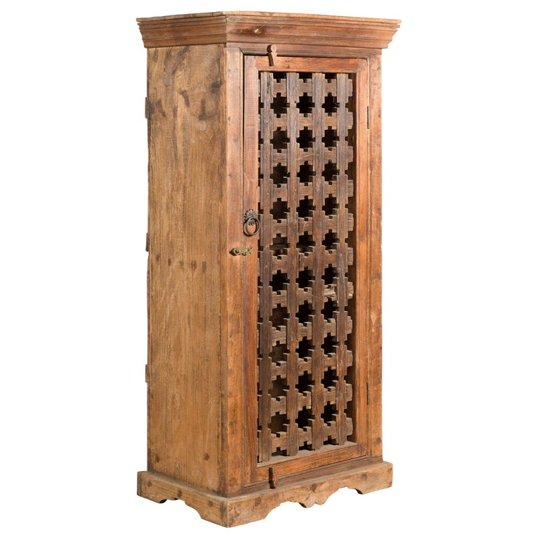 19th Century Indian Wooden Cabinet with Single Fretwork Door and Brass Handle For Sale