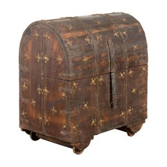 19th Century Indian Wooden Treasure Chest with Dome Top and Gilt Metal Rosettes