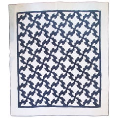 19th Century Indigo and White Drunker's Path Quilt