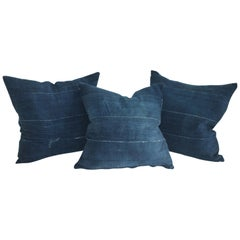 19th century Indigo Blue Linen Pillows, 3