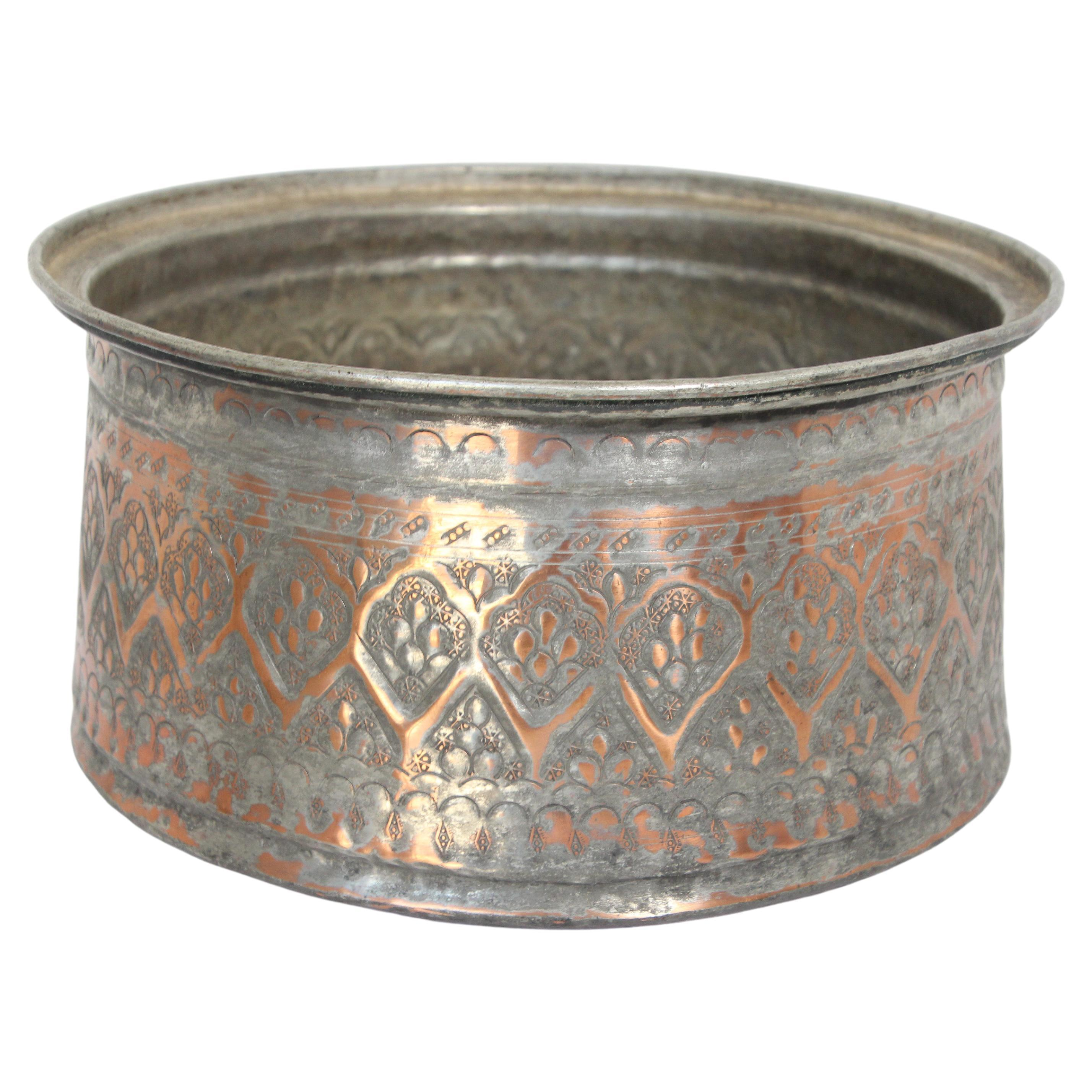 19th Century Indo Persian Mughal Tinned Copper Bowl
