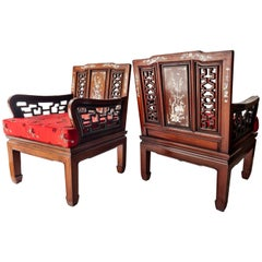 19th Century Indo-Portuguese Rosewood Mother of Pearl Inlay Lounge Chairs, 1890