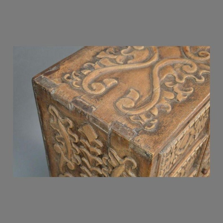 19th Century Indonesian Carved Teak Two Door Cabinet For Sale 1
