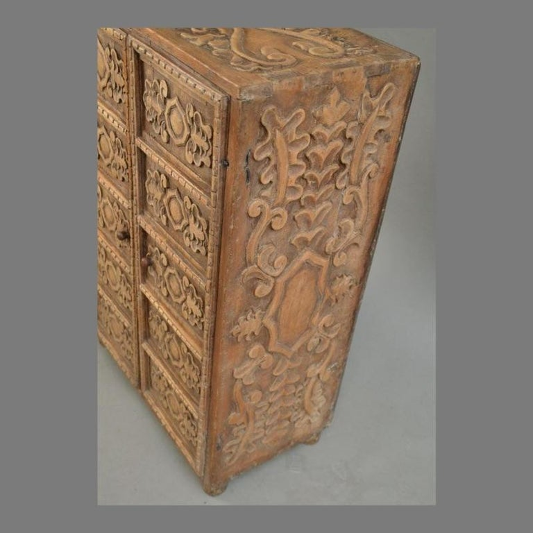 19th Century Indonesian Carved Teak Two Door Cabinet For Sale 2