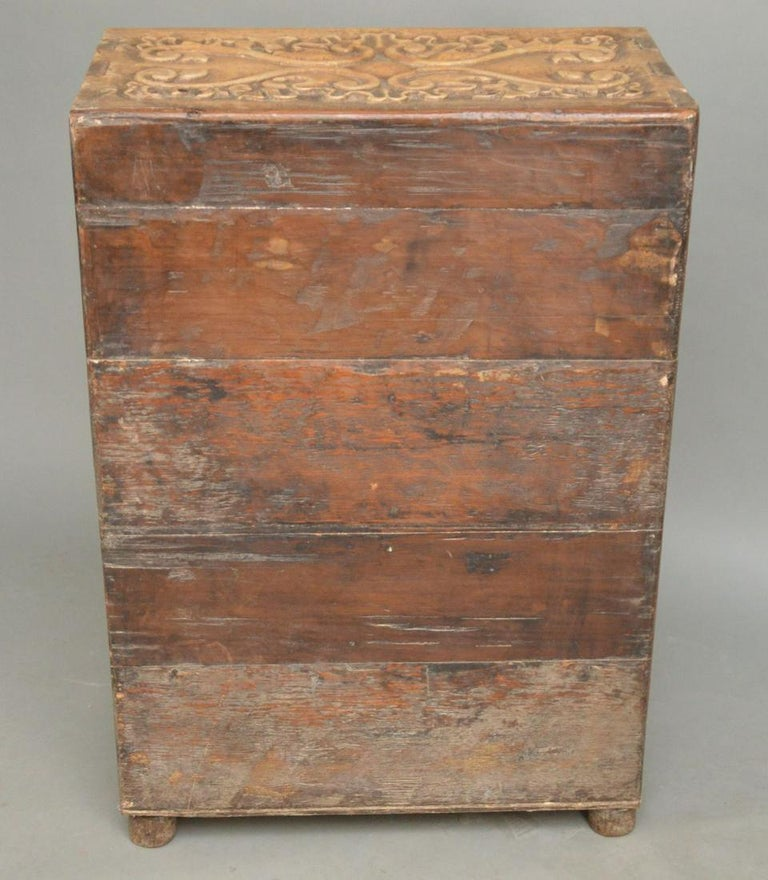 19th Century Indonesian Carved Teak Two Door Cabinet For Sale 4