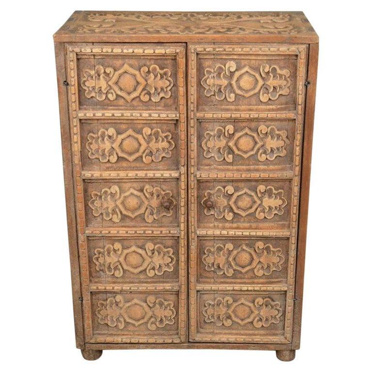 19th Century Indonesian Carved Teak Two Door Cabinet For Sale