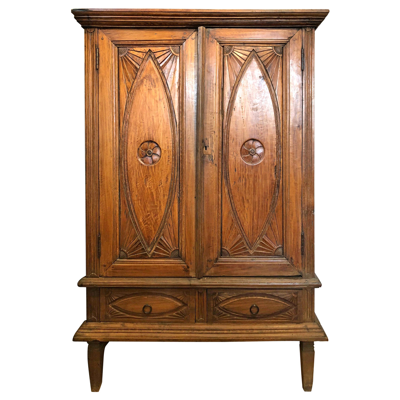 19th Century Indonesian Teak Wood Textile Cabinet